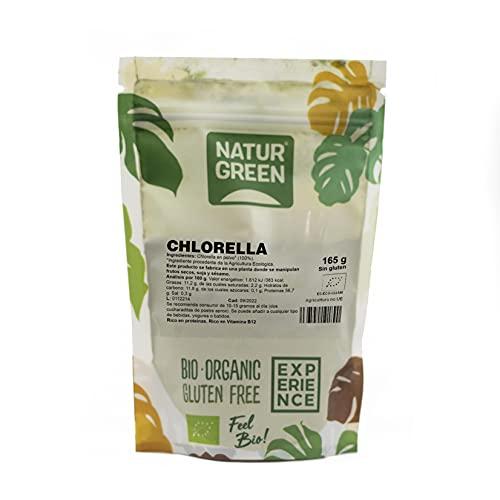 NaturGreen - Chlorella en Polvo, Alga de Chlorella, Ecológico, Elimina Toxinas del Cuerpo, Fuente de Hierro, 100% Vegano - 165 g