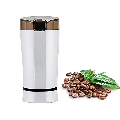 Electric Coffee Grinder Mini Stainless Steel Grinder Household Electric USB Grinder One-Touch Control Powerful Multifunctional Grinder for Coffee Beans, Nuts, Seeds, Peanuts, Grains (White)