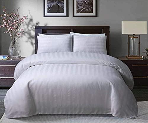 Juego de funda de edredón moderna a rayas, color blanco, con fundas de almohada, 3 piezas, 100% poliéster, calidad de hotel, juego de cama individual, doble, King y Super King (Super King)