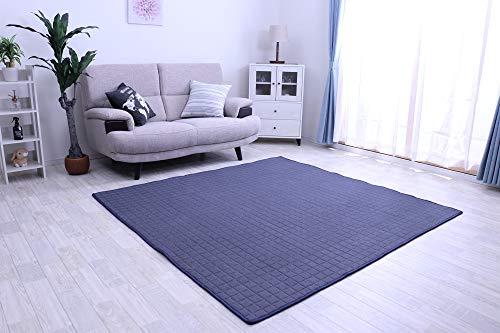 フリーリー ラグ カーペット 綿100% 185×185cm キルティングラグ 洗える 2畳 カーペット ラグマット 洗える 絨毯 じゅうたん オールシーズン (Mサイズ・ネイビー)