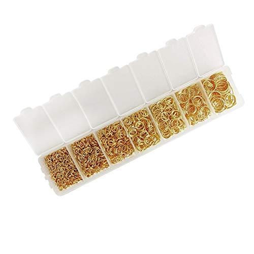 Anillo de salto, 1450 piezas de círculo dorado para hacer joyas, suministros de encuesta y reparación de collares