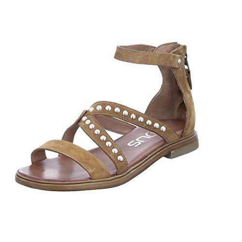 Mjus Damen Sandale M05013 modische Ledersandalette mit Reißverschluss Braun (Sella) Größe 39 EU