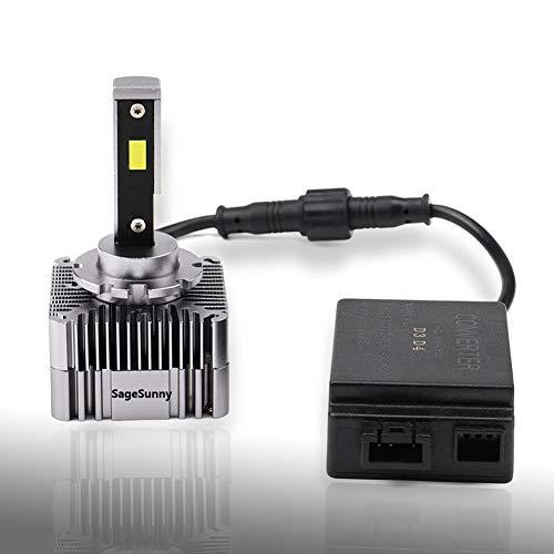 SAGESUNNY bombilla D1S D1R D1C LED Kit de conversión 5500 k blanco puro, LED de canbus anti error de 360 ° D1s D1R Reemplazo de xenón, plug and play - genuino 70W 8000Lm - 24 meses de garantía