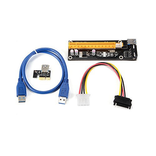 50cm USB 3.0 PCI-E Express 1X To 16X Extender Riser Card Mining Machine Adapter w/SATA 4Pin Power Cable