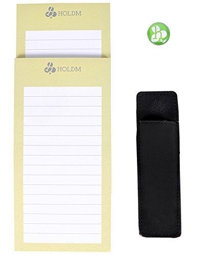 HOLDM Bloc de notas magnético para nevera fuerte para lista de tareas, con soporte de cuero para bolígrafo e imán para nevera (2 almohadillas+1 soporte para bolígrafo + 1...