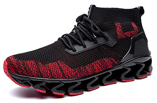 SKDOIUL Black Red Sneakers for Men mesh Breathable Comfortable Fashion Sports Running Shoes Youth Big Boys Walking Shoes Plus Size 12 (8827-Blackred-46)