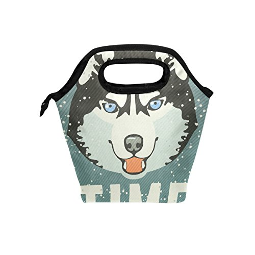 coosun Winter Poster mit Husky Lunch Tasche Isolierte Thermo Kühler Lunch Bag Wasserdichte Neopren Lunch Handtaschen Tote mit Reißverschluss für Outdoor-Reise Picknick