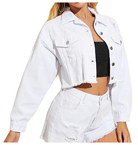 LifeShe Women Cropped Ripped Distressed Denim Jean Jacket Coat with Frayed Hem White