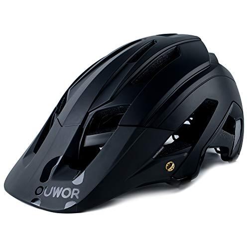 OUWOR Mountain Bike MTB Helmet, CPSC Certified, Removable Visor, for Adult Men Women Youth (Black)
