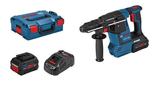 Bosch Professional 18V System Akku Bohrhammer GBH 18V-26 F (2,6 J, SDS plus, inkl. 2x5.5 Ah ProCORE18V Akkus, Ladegerät GAL 1880 CV, in L-BOXX 136)