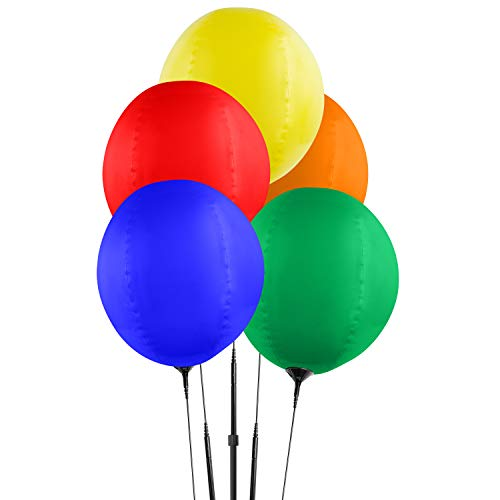 Reusable Balloon Cluster Kit with Ground Spike and Pole, Car Dealership Advertising Balloons, 5 Multi-Color Balloons