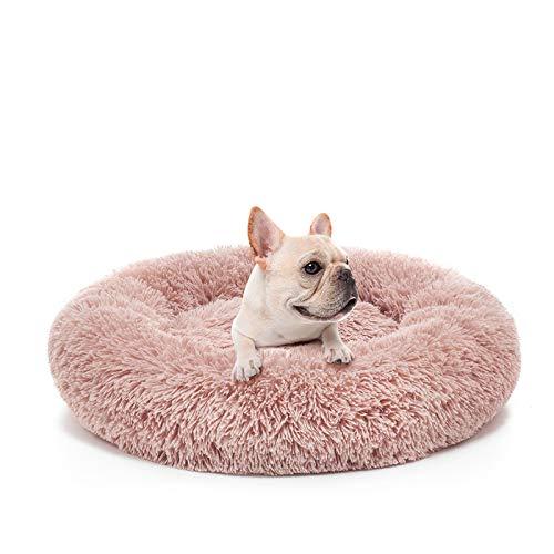 MIXJOY Orthopedic Dog Bed Comfortable Donut Cuddler Round Dog Bed Ultra Soft Washable Dog and Cat Cushion Bed (23''x 23'') (Pink)