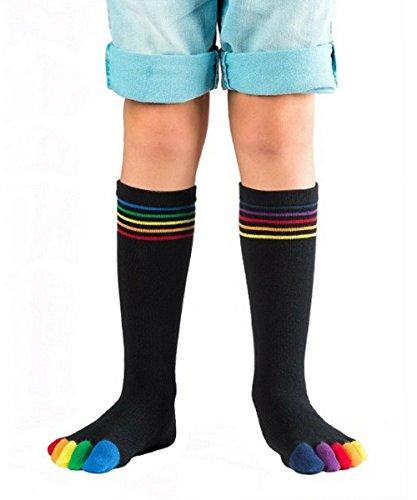 Knitido Rainbows Kids, Kinder-Zehensocken aus Baumwolle bunten Zehen, Farbe:Happy Toes (131), Größe:35-38