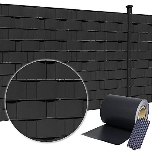HENGMEI 35m x 19cm PVC Valla Tiras de Protectora de privacidad Pantalla Proteción visual jardín terraza, antracita