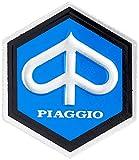 Emblema de Piaggio Hexagonal Cascada para Vespa 50/ET3etc,de Aluminio, 25x 30mm, Autoadhesivo