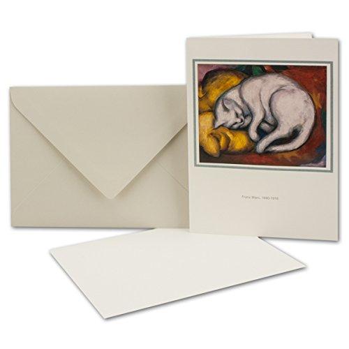 Original Artoz Kunstkarten-Set - 3er-Set - Franz Marc - Die Weisse Katze - hochwertige Doppelkarten mit Einlegeblatt und Umschlag im DIN B6 Format
