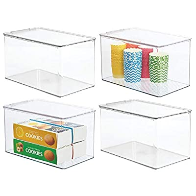 mDesign Plastic Stackable Kitchen Storage Box, 4 Pack by