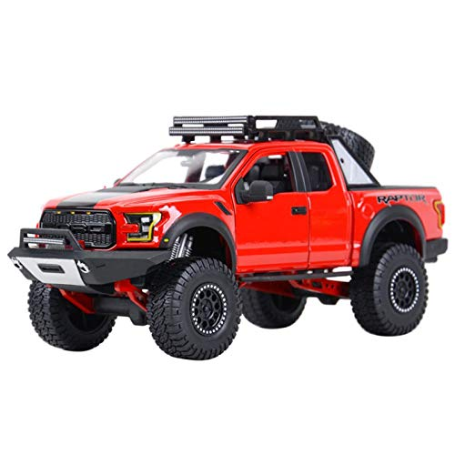 NMBE 1:24 para 2017 Ford F-150 Raptor Mais Off-Road Kings Pickup Truck Static Diecast Aleoy Modelo Coche Modelo De Auto (Color : Red, Size : 2)