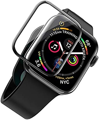 Glaxx Full Coverage Apple Watch SE 44mm PET Screen Guard Protector Unbreakable Full Glue and Full Coverage Black
