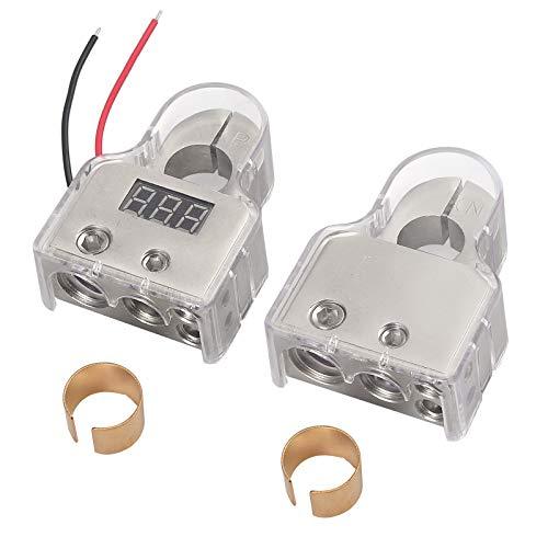 eSynic Paar Autobatterie Klemmen mit Voltmeter 0/4/8/10 Spurweite AWG 2-teilige Anschlüsse Positive und Negative Metallklemmen mit Abstandshaltern und Schutzabdeckungen für Autobatterien - Silber