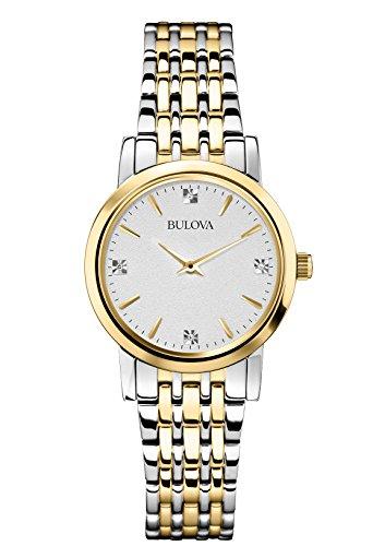 Bulova Diamond Reloj de Cuarzo para Mujer con Plata Esfera analógica Pantalla y Pulsera bañada en Oro/Plata 98P115