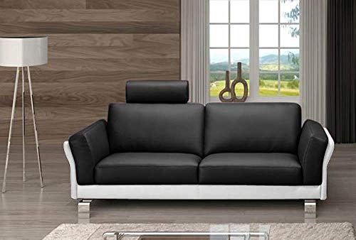 SAM 3-Sitzer Sofa Garnitur Negro, schwarz/weiß, ca. 212 cm