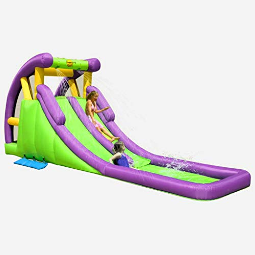 Tidyard Kinder Planschbecken Wasserpark Groß mit Wasserrutsche und Kletterwand, Aufblasbare Wasserrutsche Pool, Wasserspielcenter Kinderspielzeug für Outdoor Garten