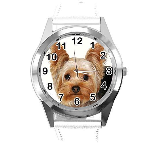 Reloj analógico de Cuarzo con Correa de Piel auténtica de Color Blanco Redondo para los Fans de York Terrier de TAPORT®