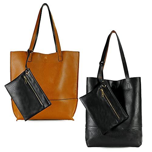 Scarleton Reversible Tote bag for Women, Shoulder Bag for Women, Purses for Women, Handbag for Women, Hobo bag, H20182501 - Camel/Black