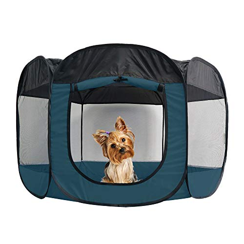 Furhaven Pet Playpen  IndoorOutdoor Mesh OpenAir Playpen and Exercise Pen Tent House Playground for Dogs and Cats Sailor Blue Small