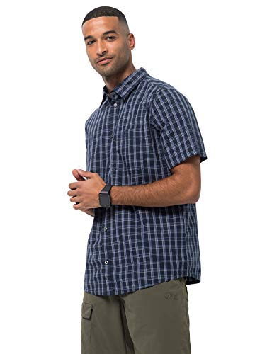 Jack Wolfskin Herren Hemd Hot Springs, Night Blue Checks, XL, 1402332-7881005