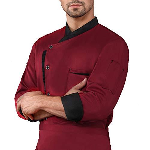Frauen Männer Koch Uniform Mantel Lange Ärmel Kochen Kleider Küche Restaurant Hotel Arbeit Tragen Atmungsaktiv Essen Bedienung Hemd,Rot,XL