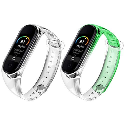 Qianyou 2 Piezas Correas para Xiaomi Mi Band 5/6 Silicona, para Band 6 Pulsera con Funda Impermeable TPU Reemplazo Colorida Reloj Banda para Xiaomi Mi Band 5/Band 6,Claro+Verde