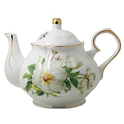 Jomop Ceramic Teapot Floral Design White 4 Cups 850 ml (Green)