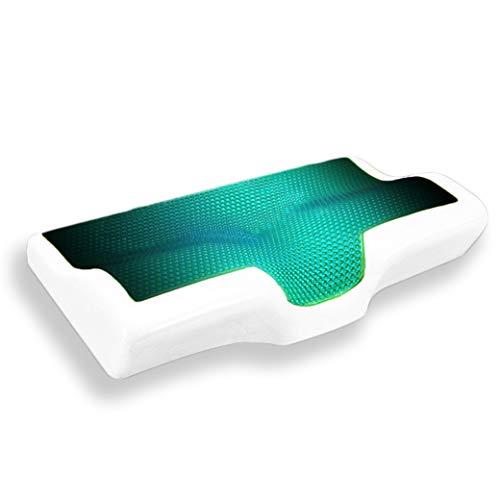TTBD Almohada Cervical Ortopedica, Gel Cervical Almohada para El Cuello Verano Y Enfriada con Hielo De Rebote Lento del Sueño Anti-Ronquido Almohada Ortopédica Suave,Green Gel,20x12
