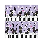TropicalLife HaJie Tovaglioli per pianoforte note musicali gatto animali cena tovagliolo carta raso poliestere panno riutilizzabile per tavolo bambini 50,8 x 50,8 cm, 6 pezzi