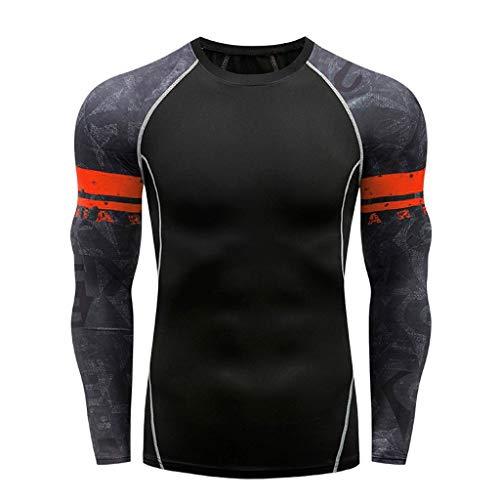 Storerine Langarm Yoga Fitness Print Soft T-Shirt Top Bluse für Herren
