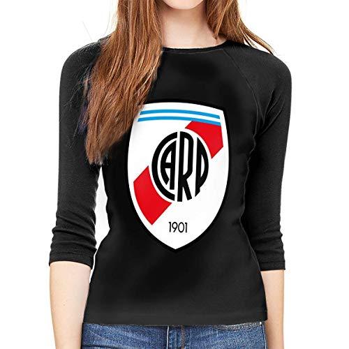 hdghg Camisetas de Manga 3/4 para Mujer,Camisetas para Mujer,Women Long Sleeve T-Shirt, River Plate FC Round Neck T Shirt Baseball Tunic Tops Blouse Ladies Raglan 3/4 Length Sleeve tee
