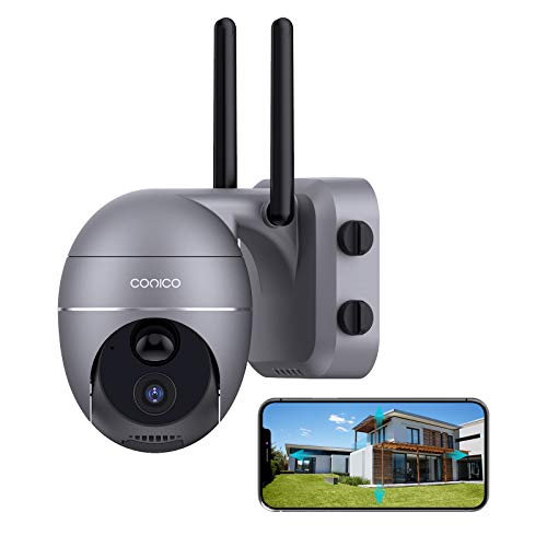 Wireless Security Camera Outdoor,Conico 1080P Pan/Tilt Outdoor Camera with 15000mAh Rechargeable Battery,PIR Motion Detection,Surveillance Security Cameras with Two-Way Audio,Night Vision