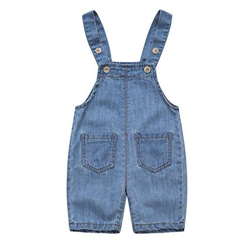 Bebé Peto con Pernera Corta - Pantalones de Peto Vaqueros Niños Niñas Overalls Pantalón Ajustable 18-24...