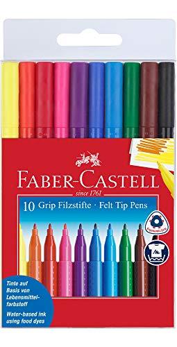 Faber Castell 155310 - Fasermaler Grip Colour Marker, 10 Stück Etui
