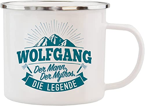 History & Heraldry Echter Kerl - Emaille Becher Wolfgang - mit Name und Spruch