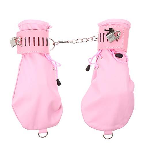 HEALLILY 1 Paar Lederhandschellen Fesseln Schnürung Leder Handgelenksmanschetten Handschuhe mit Schlossschlüssel Erotische Sex Bettwäsche Spielzubehör für Rosa