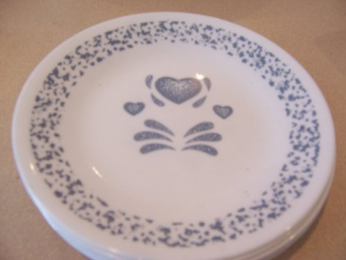 6 Bread And Butter Plates Corelle Blue Hearts