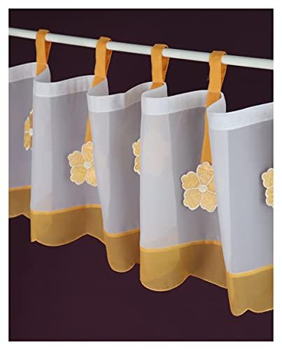 Schmidtgard Stoffe Tenda a pannello con motivo floreale, corta, in voile, stile vintage, stile rustico, altezza 30 x larghezza 150 cm, colore: bianco/arancione