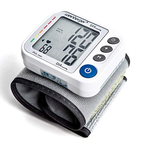 Weinberger 02272 Handgelenk Blutdruckmessgerät mit gut lesbarem Display, Speicher und Risiko-Indikator inkl. Aufbewahrungsbox HL158CA, handlich, weiß, 200 g