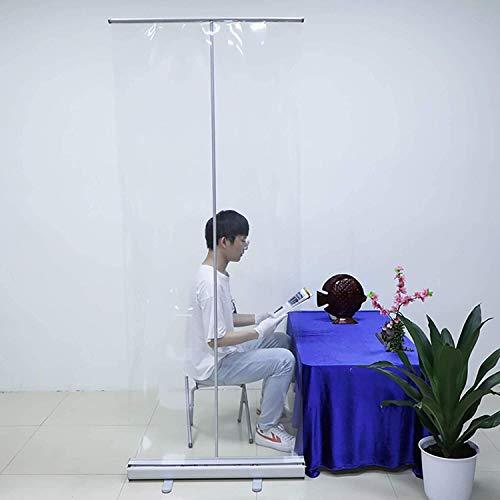 EW&HU Piso de pie Estudio de estornudos, banner de extracción portátil enrollable enrollar la bandera Aislamiento gratuito de la barrera con protección de pantalla clara para oficina, tien