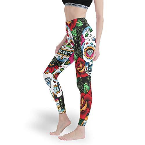 shenminqi Leggings elásticos de tobillo para Halloween con diseño de calavera y rosa para niñas