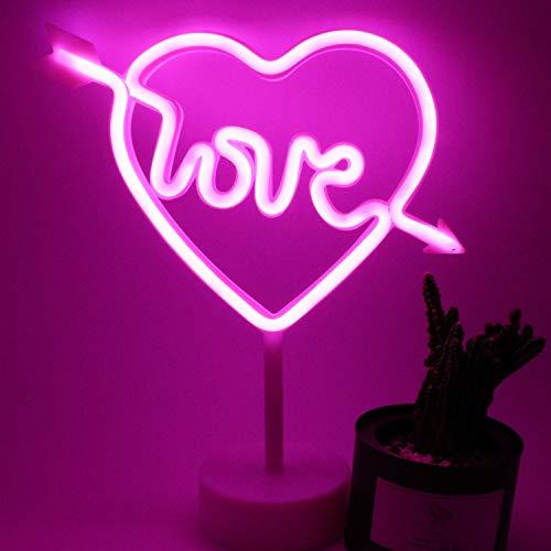 XIYUNTE Amore Luci al neon Luci notturne con piedistallo titolare, Rosa Cupido Insegne luminose interni decorazione, Batteria e USB motorizzato Cuore Luce al neon per bambini, cameretta, Natale