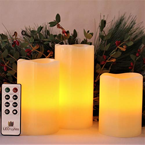 Flameless Halloween Candles with Remote, Pillar Candles, Battery Operated Candles, LED Candles Set of 3 Decorative Candles for Home Decor and Christmas Decorations by LED Lytes